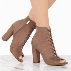 Brand new taupe lace up booties
